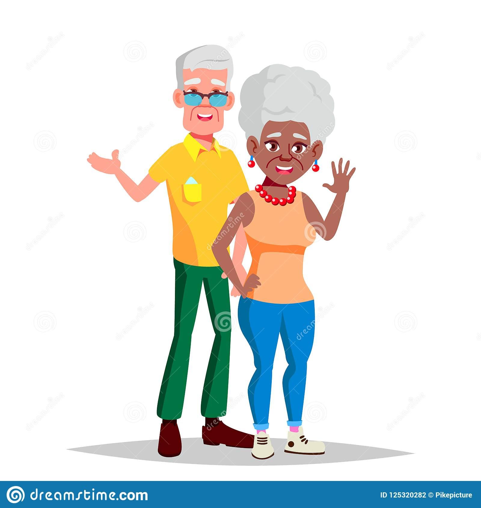 Elderly Couple Vector. Modern Grandparents. Elderly Family. Grey.