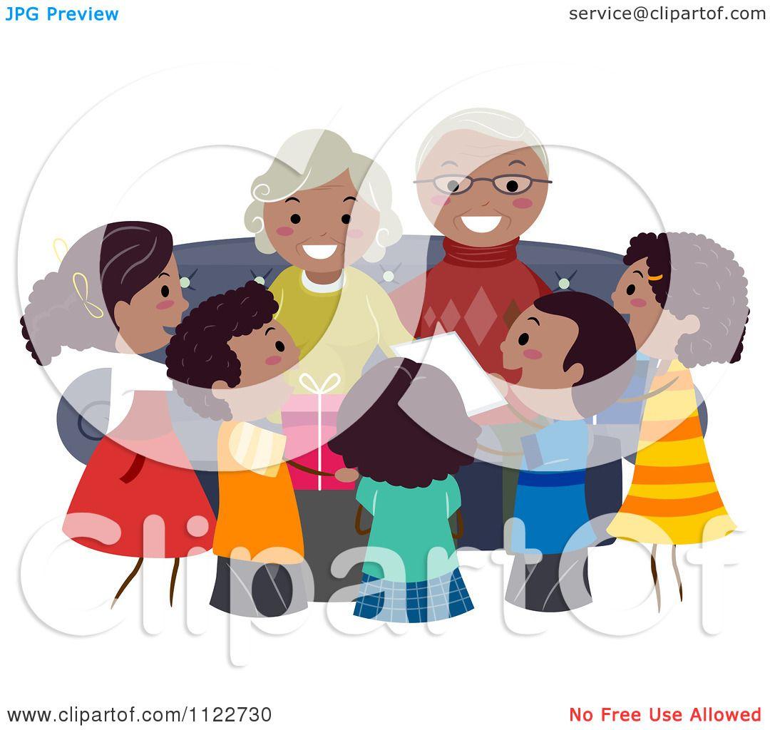 Cartoon Of Happy Black Grandparents And Children.