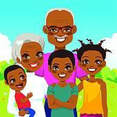 African American Grandparents With Grandchildren Clipart.