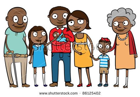 Big cartoon black or ethnic family with parents, children and.