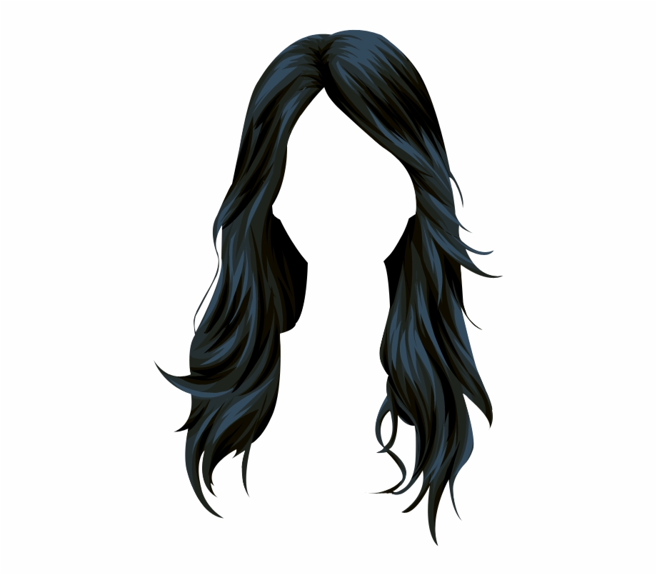 Wig Stardoll Long Hair Vector Black Clipart.