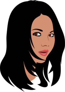 Girl with black hair clipart.
