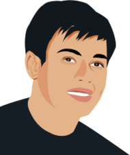 Man with black hair clipart.