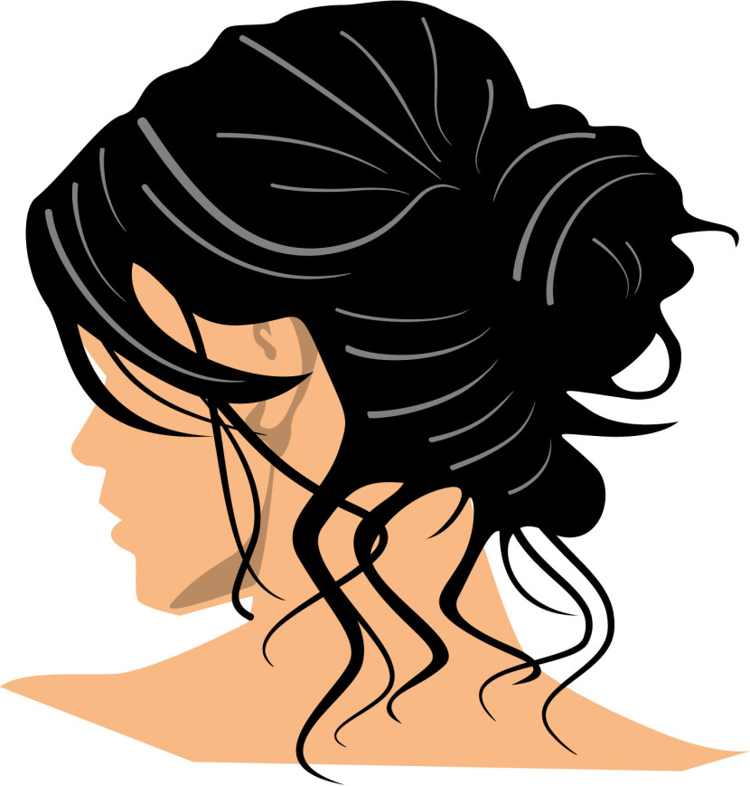 Woman with Black Hair Clip Art.