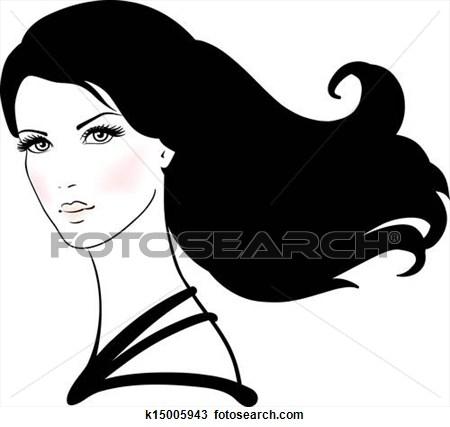 Clip Art Long Black Hair Clipart.