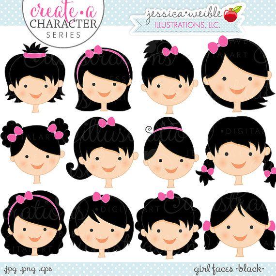 Black Hair Girl Faces.