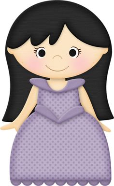 A girl clipart with black hair.
