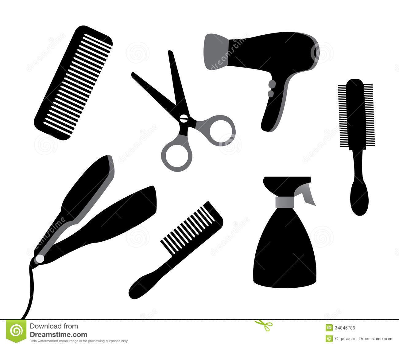 Black Hair Stylist Tools Clipart.