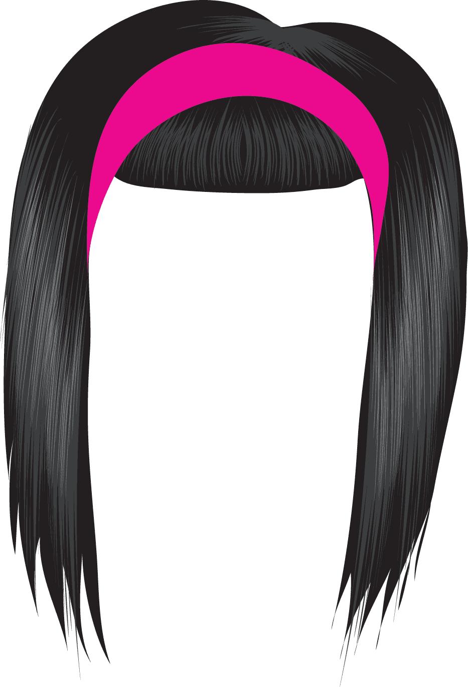 Black Hair Wig Clipart.