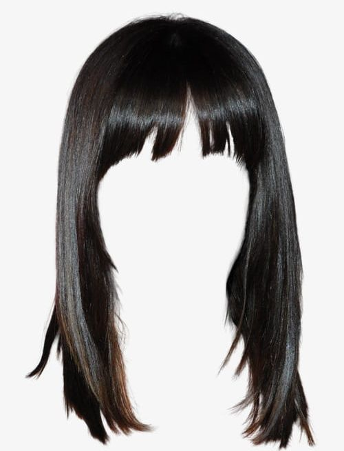 Western Style Black Hair Wig Free To Pull The Material PNG.