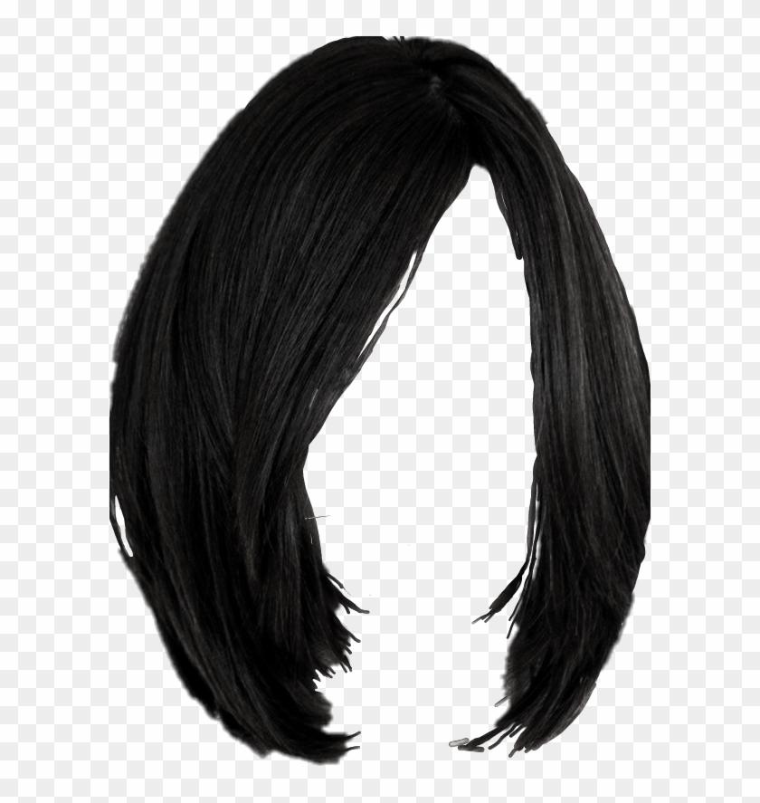 Freetoedit Wig Black Hair Medium Bob Hairstyles Hairdo, HD Png.