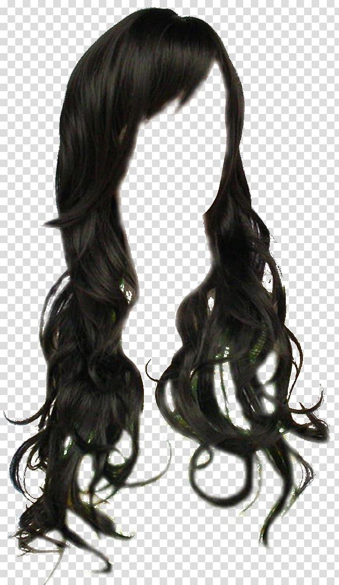 Black wig illustration, Wig Black hair Long hair, black hair.