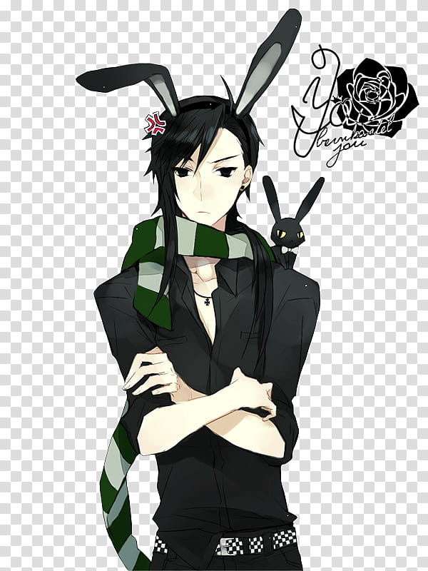 Anime Bunny Boy Render, black haired male anime character.
