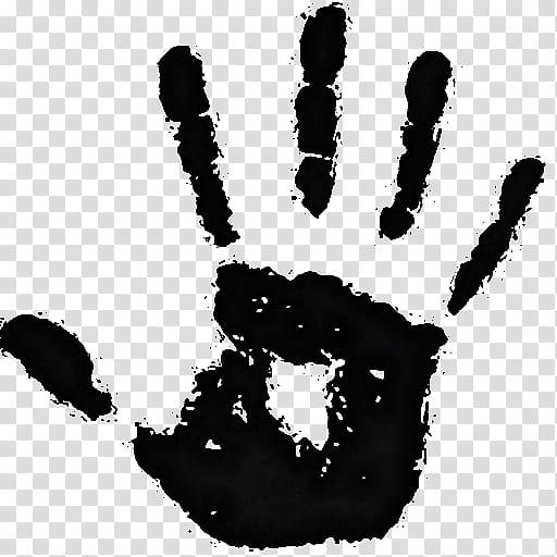 Dark, human hand print illustration transparent background.
