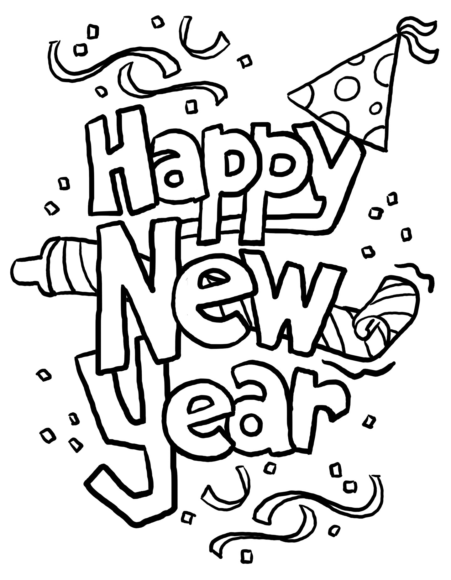 Happy new year black and white clipart.