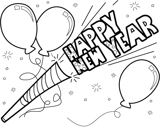 Happy new year clipart black and white 2 » Clipart Station.