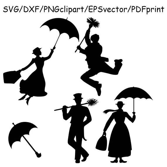 Mary Poppins Bert SVG Mary Poppins Silhouette Clipart Vector.