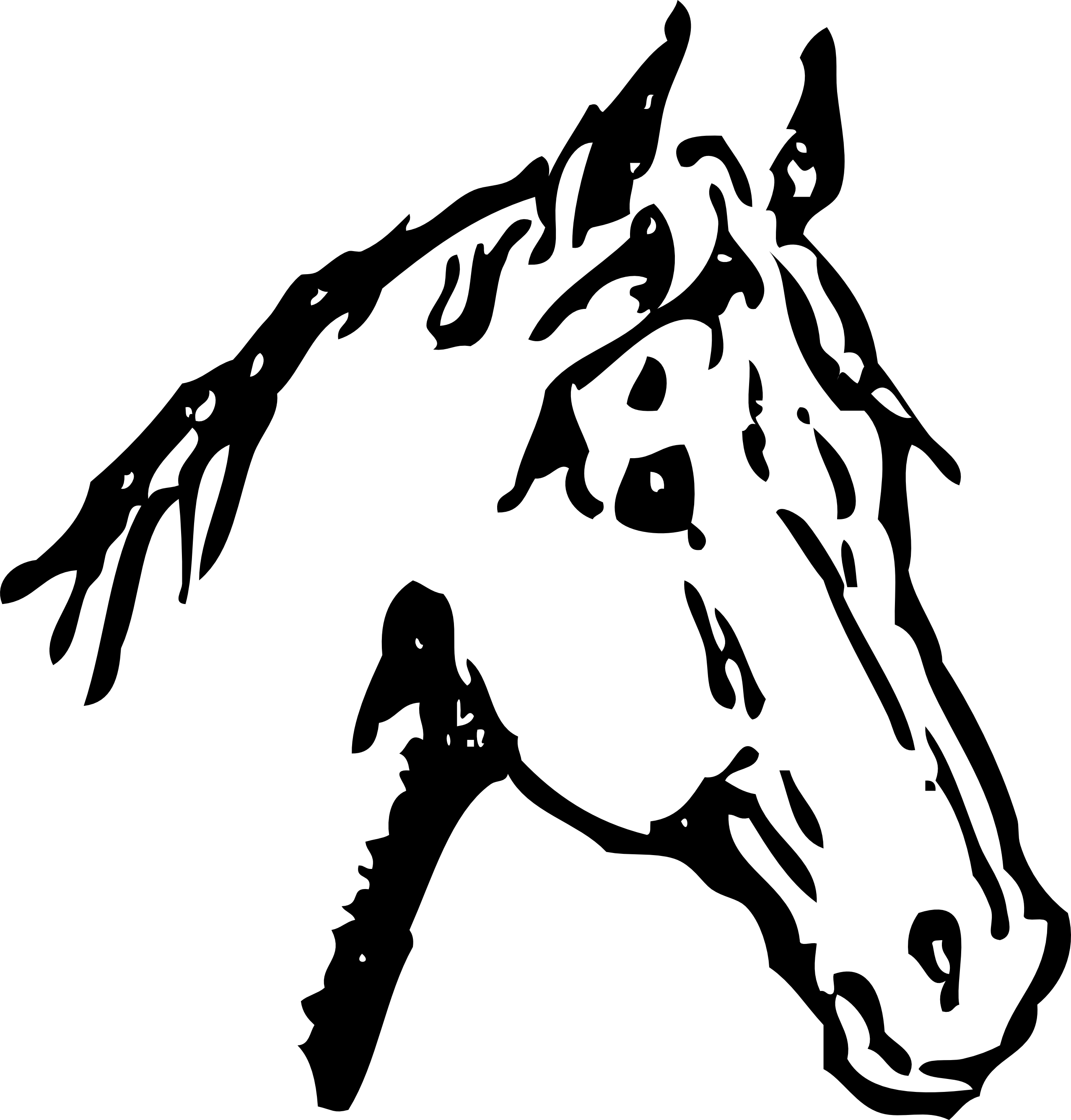 Clipart unicorn head black and white.