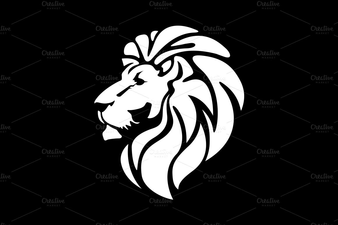 Black and White Lion Head.