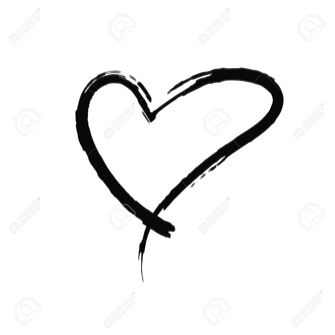 The black heart is painted by hand. Handwritten text. Background...