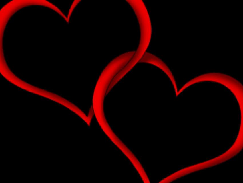 Clipart, Double Heart Clipart Double Heart Vector Black.