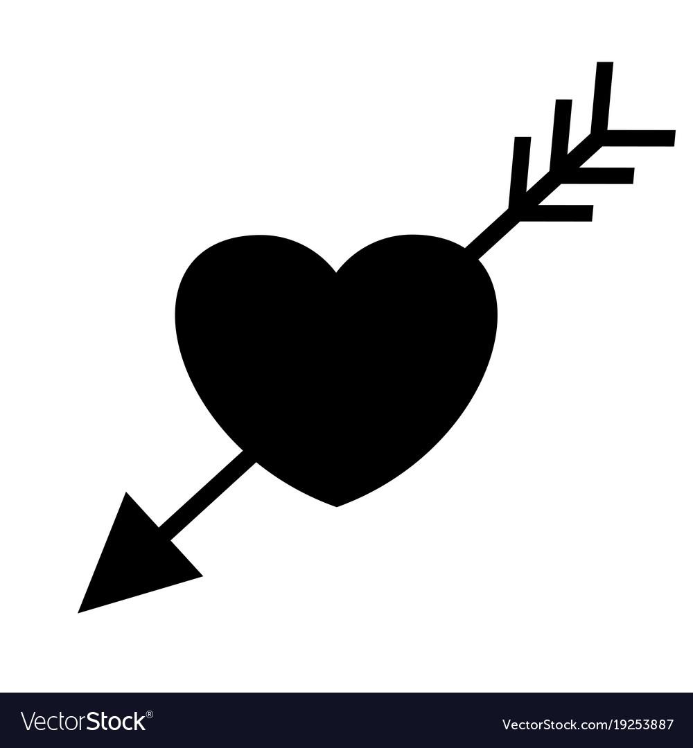 Wedding heart with arrow black icon.