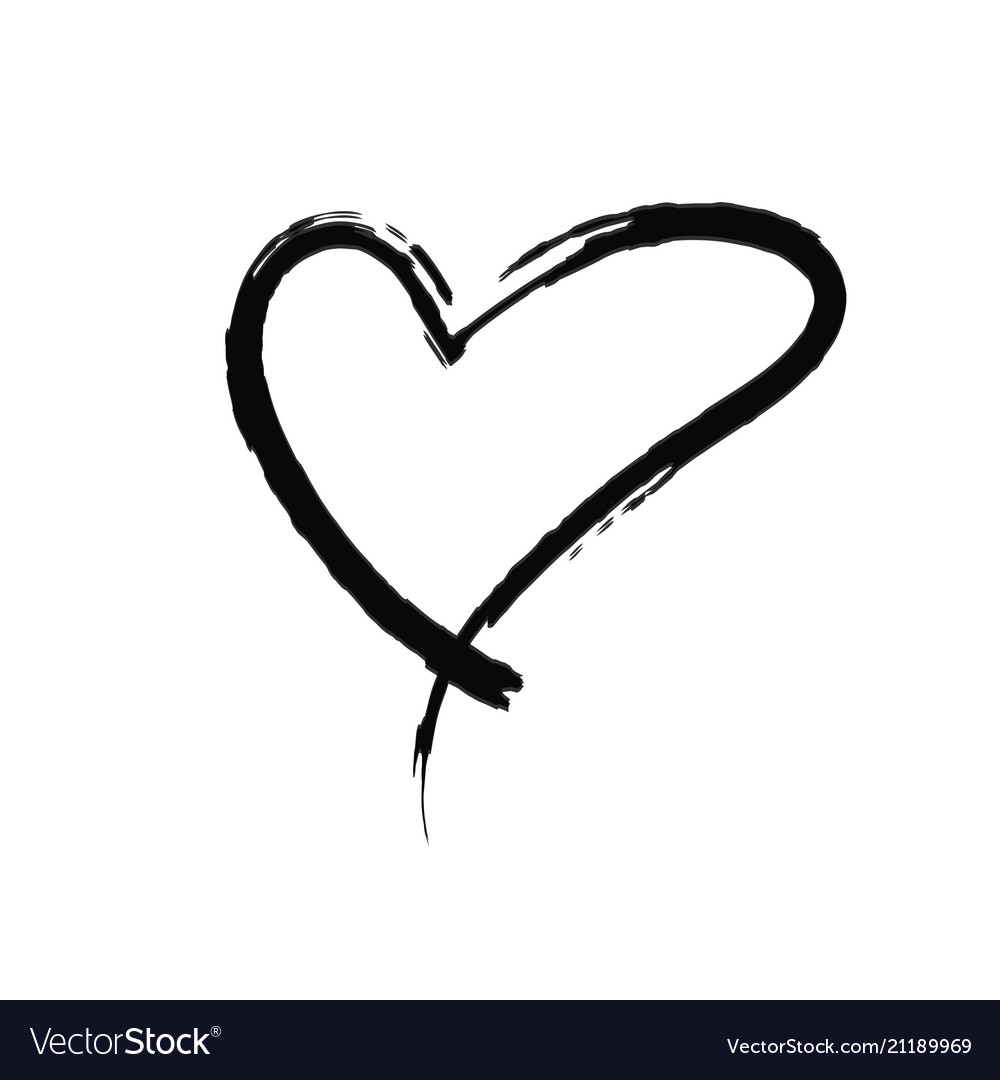 The black heart is painted by hand handwritten.