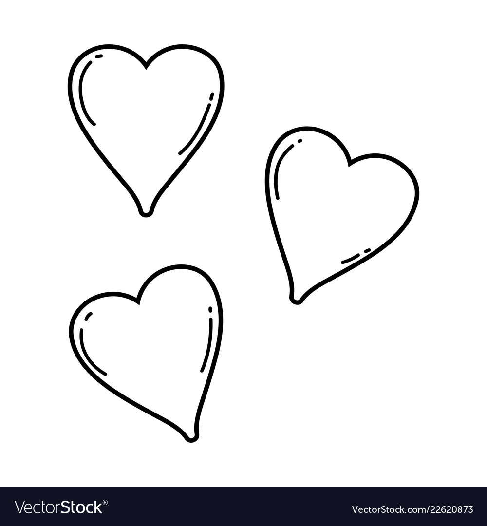 Cute hearts drawings black and white.