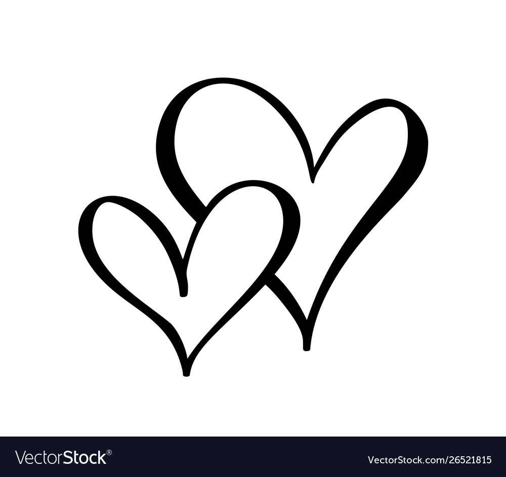 Two black hearts sign icon on white.