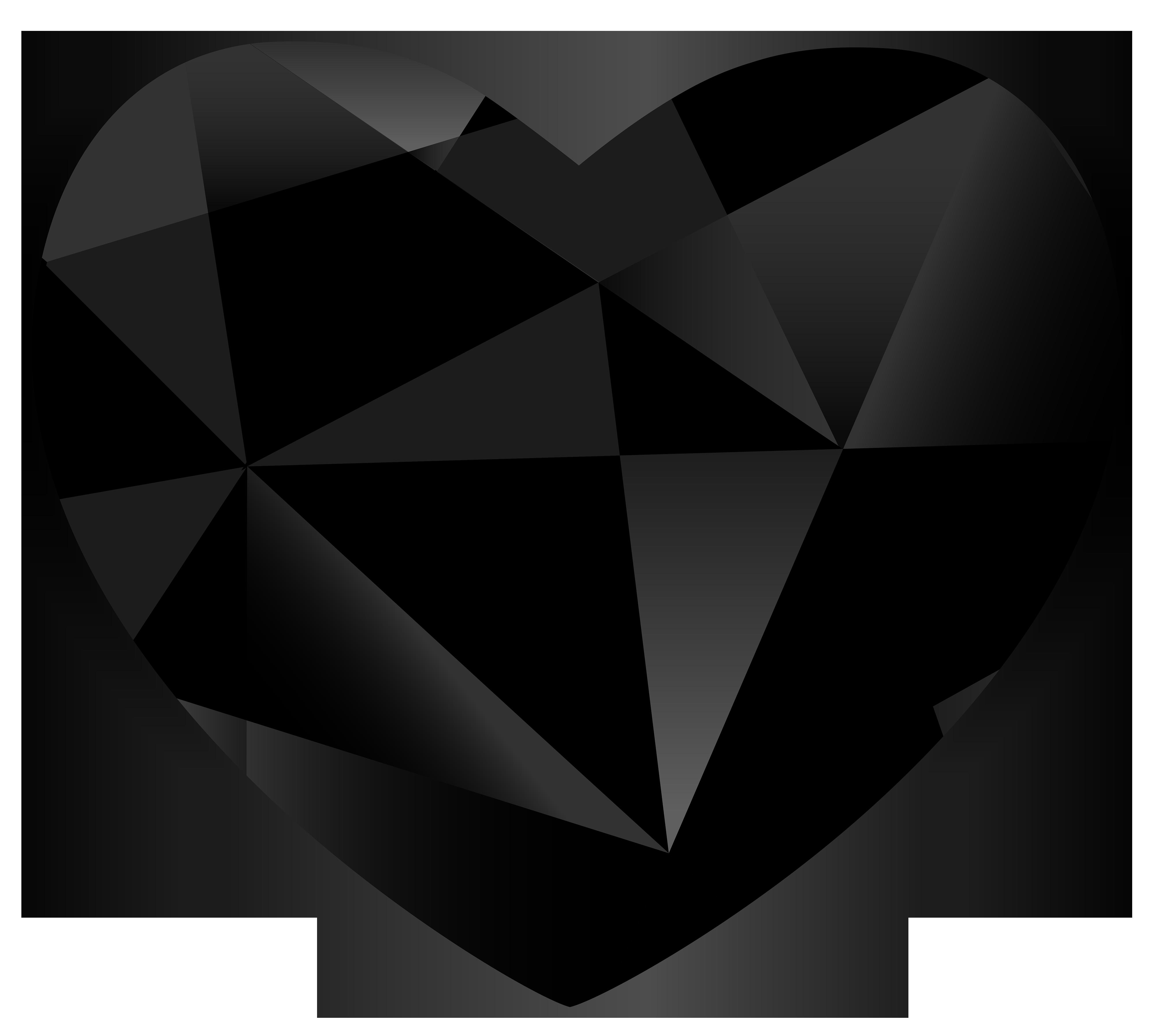 Black Gem Heart PNG Clipart.