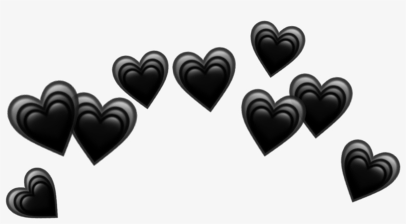 Heart Hearts Crown Black Tumblr Emoji Png Heart Crown.