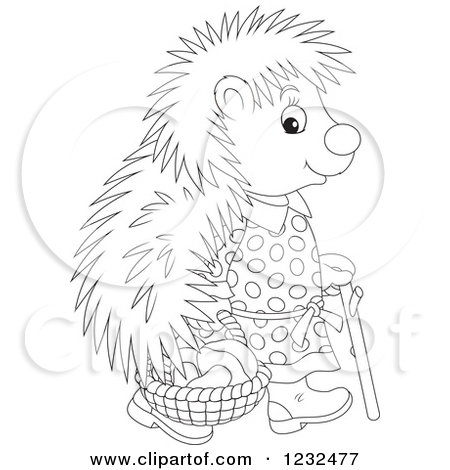 Clipart of a Black and White Female Hedgehog with a Basket of.