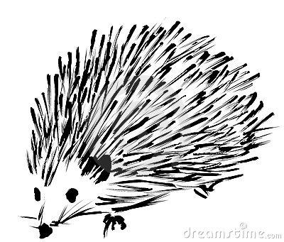 Cute hedgehog clipart black and white.
