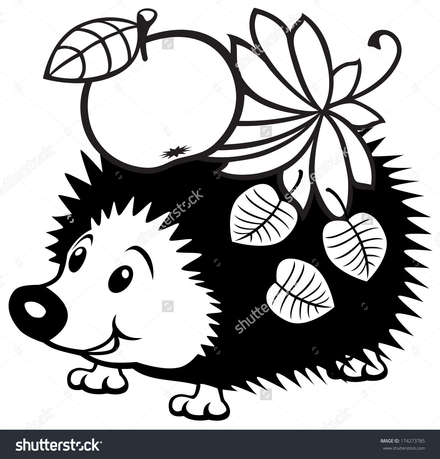 Cartoon Hedgehog Black White Picture Little Stock Vector 174273785.