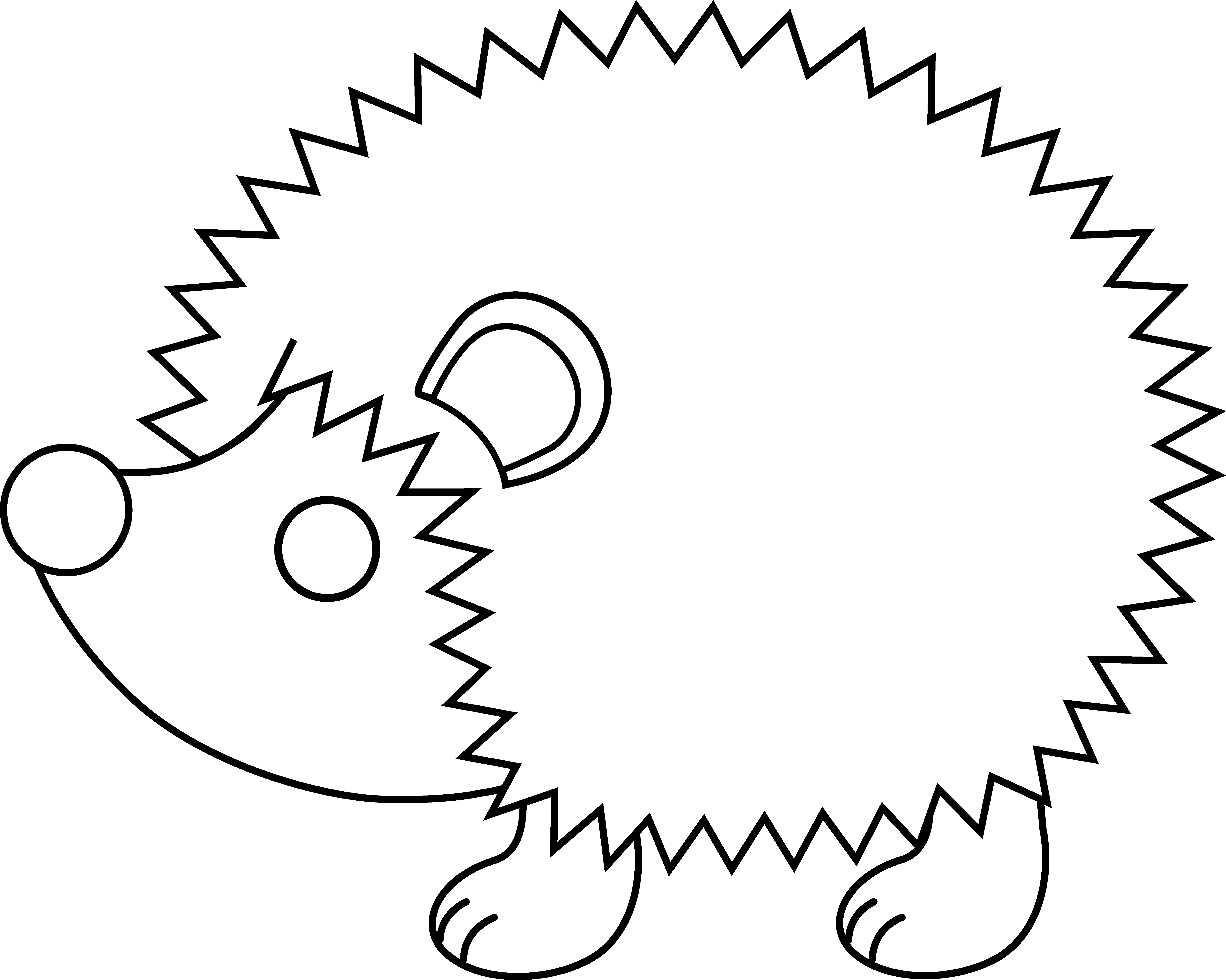 Hedgehog clipart black and white.