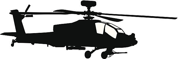 Silhouette Of A Black Apache Helicopter Vector Art Illustratio.