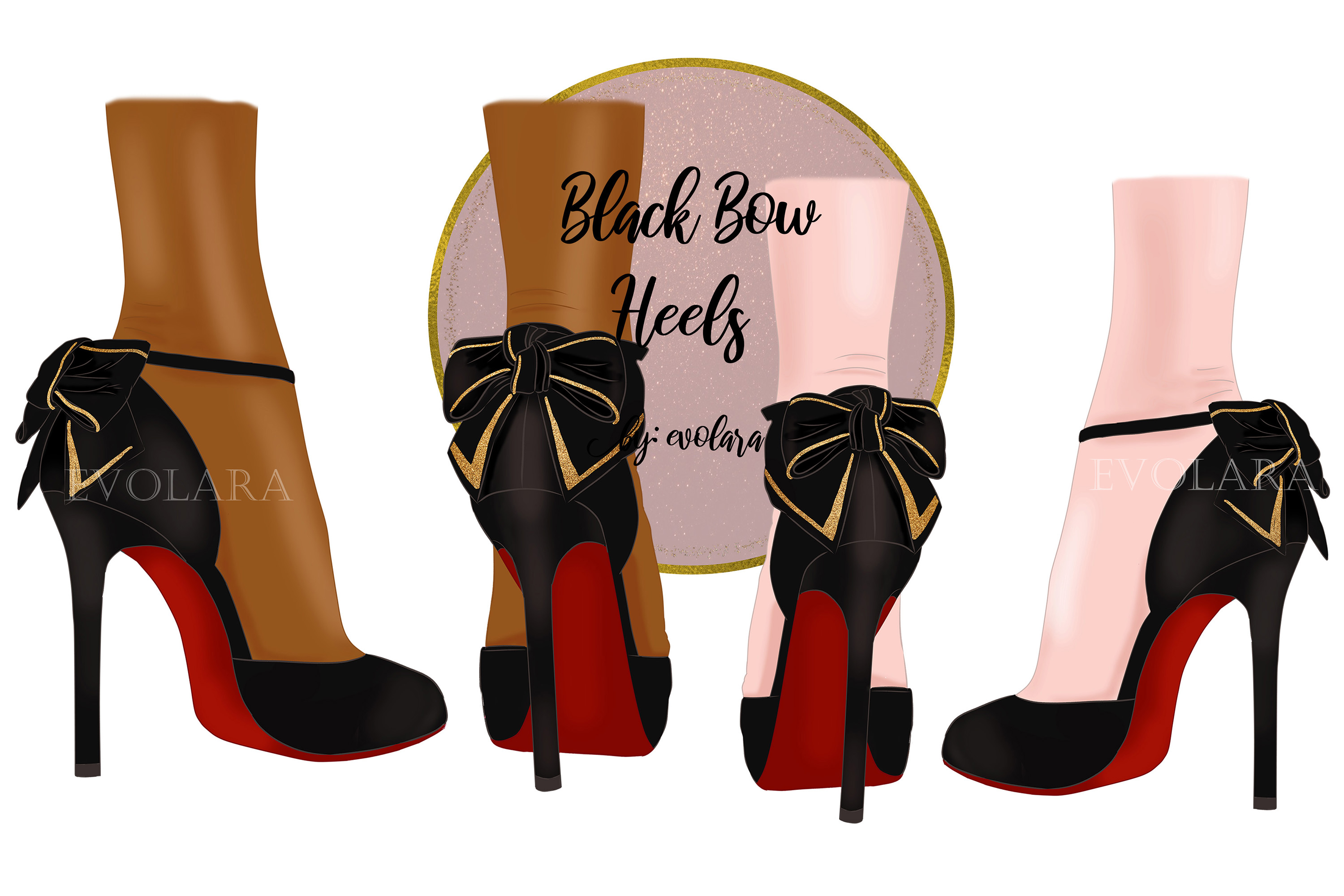 High Heel Shoes Clipart Black Heels Fashion Illustrations.
