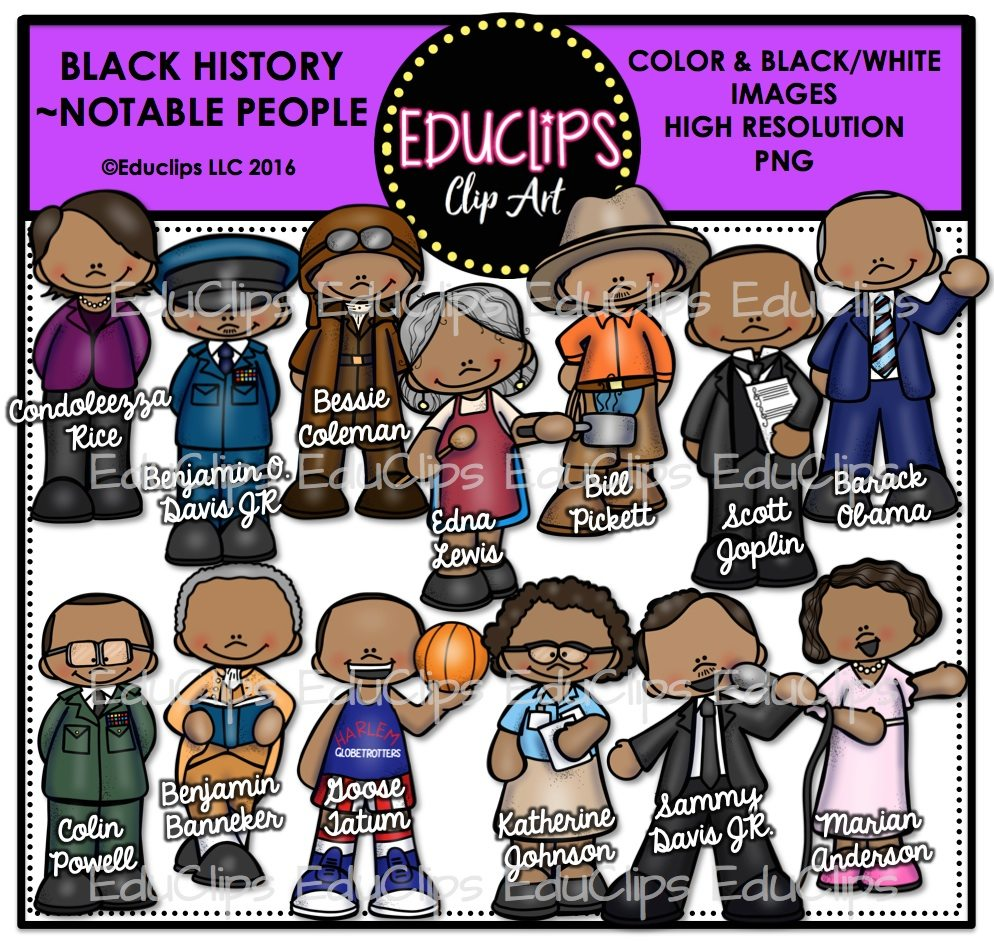 Black History ~ Notable People Clip Art Bundle (Color and B&W).