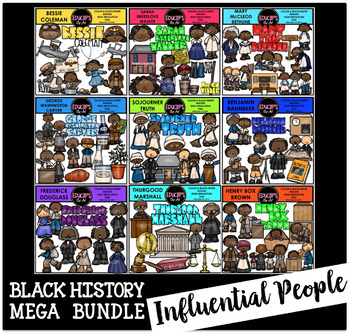 Black History~Influential People Clip Art Mega Bundle {Educlips Clipart}.