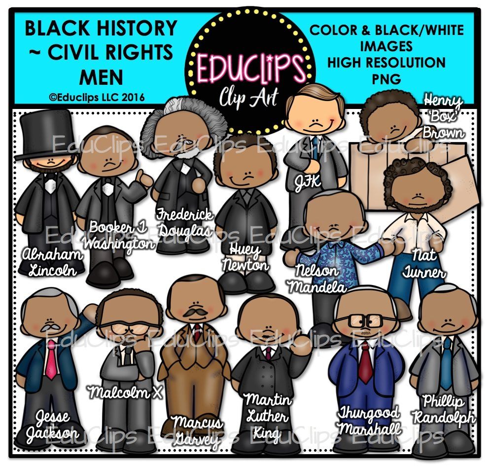 Black History ~ Civil Rights Men Clip Art Bundle (Color and B&W).