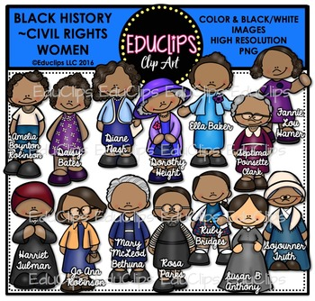 Black History ~ Civil Rights Women Clip Art Set {Educlips Clipart}.