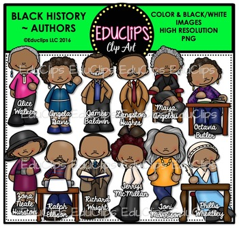 Black History ~ Authors Clip Art Set {Educlips Clipart}.