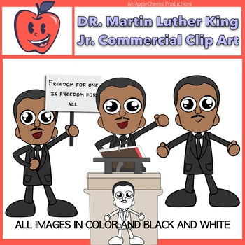 Dr. Martin Luther King Jr. Cartoon Clipart Commercial Use Black History  Month.