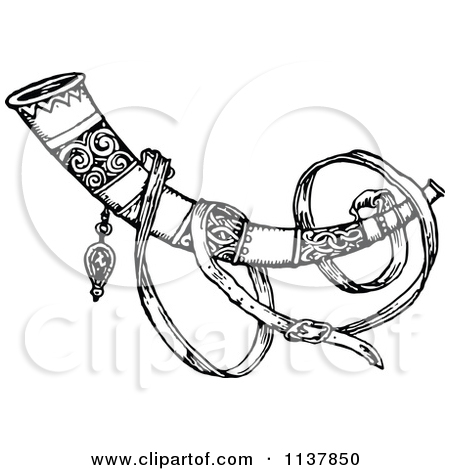 Clipart Of A Retro Vintage Black And White Horn.