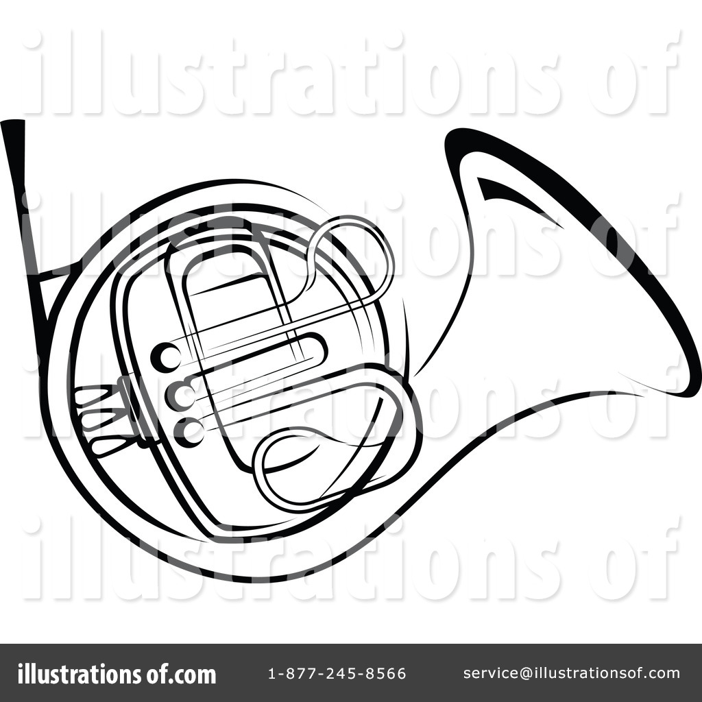 French Horn Black And White Clipart.