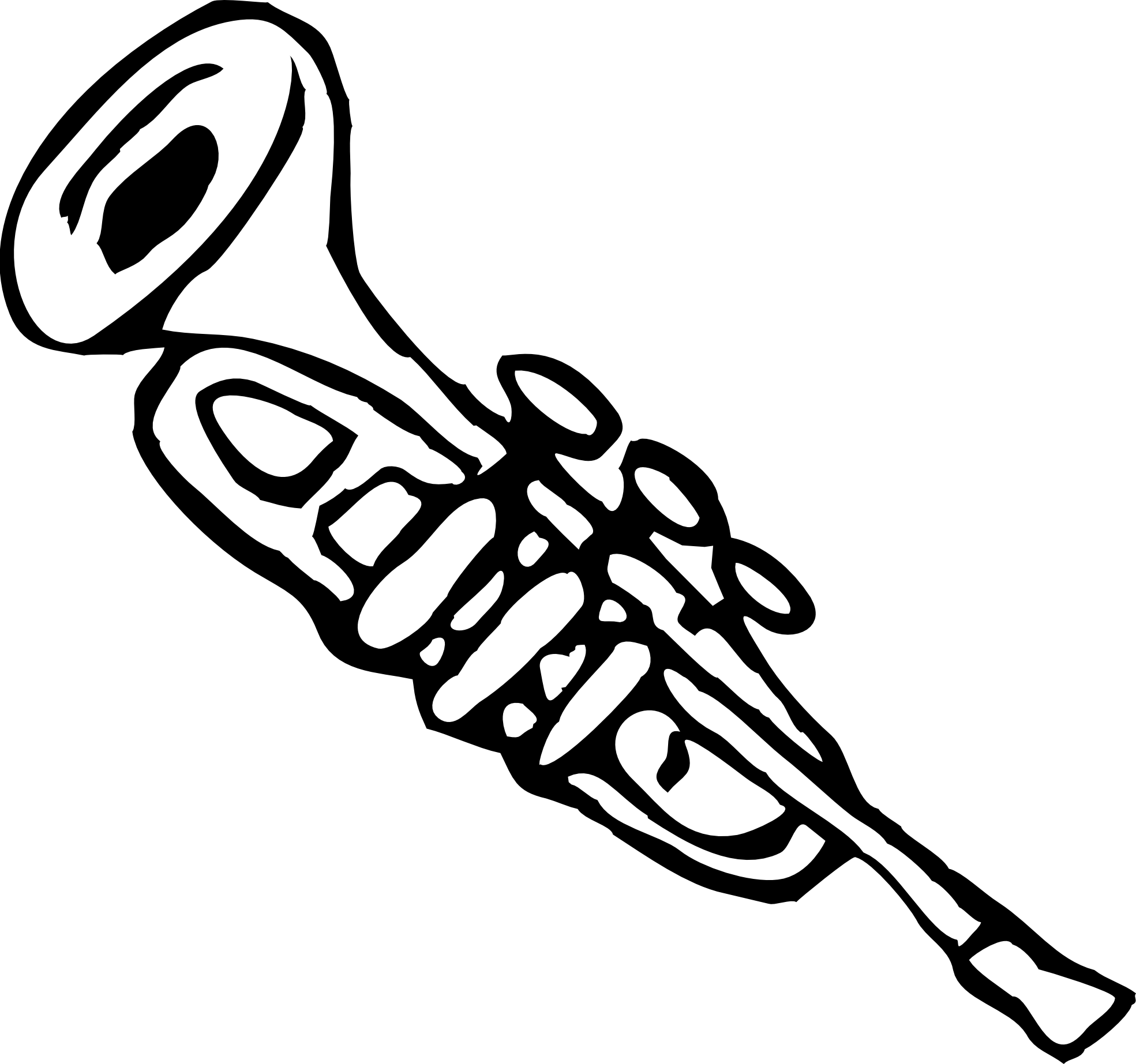 Horn clipart black and white.