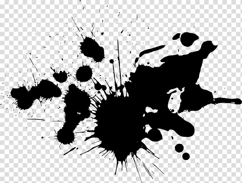 Splash of black ink, Ink GIMP Paint Brush, paint splatter.