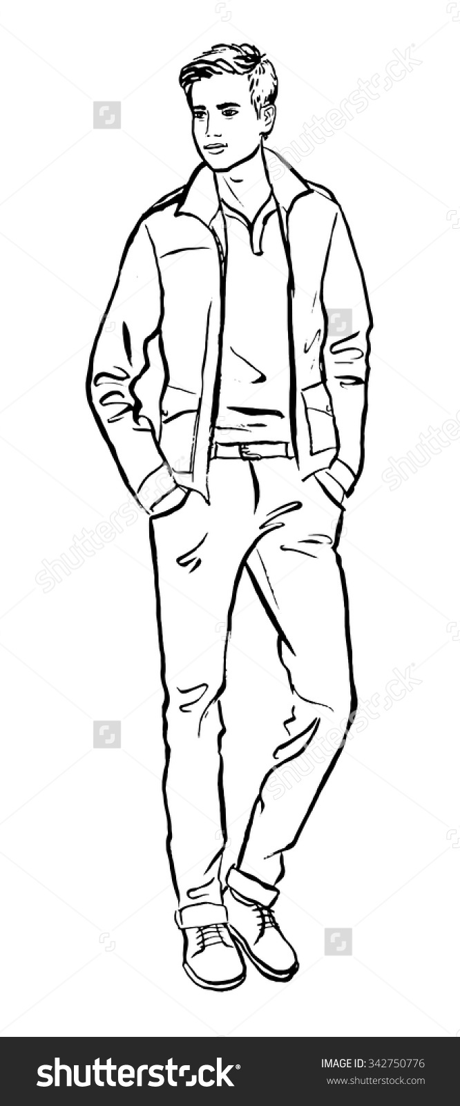 Fashion Illustration Man Hand Drawn Ink Stock Vector 342750776.