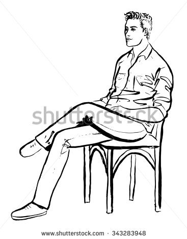 Fashion Sketch Man Sitting Cafe Ink Stock Illustration 343291664.
