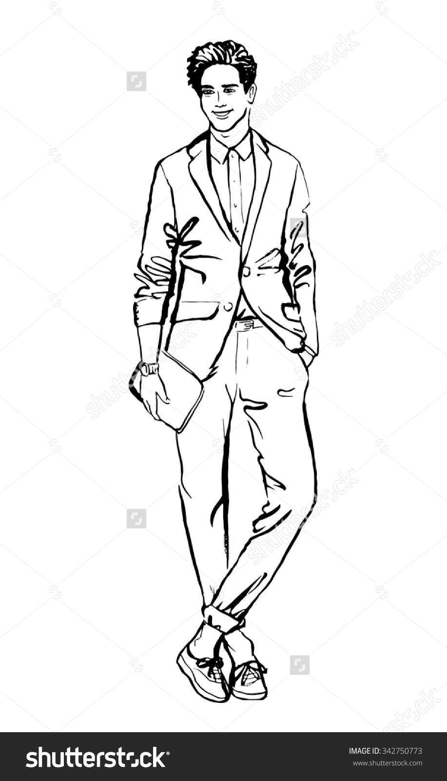 Fashion Illustration Man Hand Drawn Ink Stock Vector 342750773.
